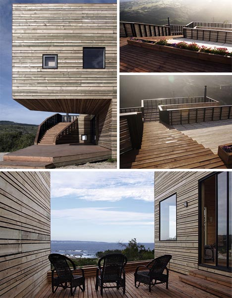 The 'softwood' is durable against harsh weathering. (http://cdn.dornob.com/wp-content/uploads/2009/06/contemporary-all-wood-modern-home.jpg)