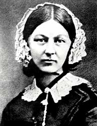 Florence Nightingale, English hospital reformer, who publicised the 'miasma' theory of disease while campaigning for cleaner hospitals (http://www.bbc.co.uk/staticarchive/2704094d12da5c0f3dac009caf664075b3e74597.jpg)