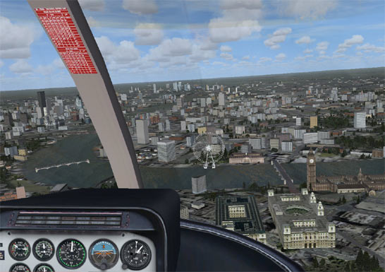 View from flight sim cockpit, looking out to the city of London, the London Eye is in shot (http://www.bbc.co.uk/schools/gcsebitesize/ict/images/flight_sim.jpg)