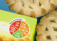 The packaging for some pies shows nutritional information in an easy-to-understand way, using green, amber and red to show many fats, sugars, etc the food contains. (http://www.bbc.co.uk/staticarchive/94a8fa4419b8adaebcacacabd79198f9e0c7fbe1.jpg)