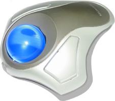 silver trackball with blue ball (http://www.bbc.co.uk/schools/gcsebitesize/ict/images/trackball.jpg)