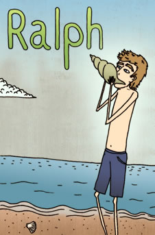 Ralph blows the conch on the beach. (http://www.bbc.co.uk/schools/gcsebitesize/english_literature/images/lotf_small_13.jpg)