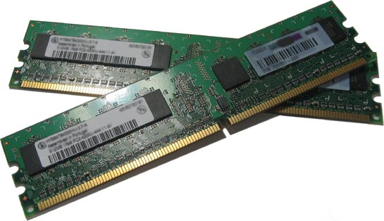 two RAM modules, green PCB (plastic circuit board) with gold contacts along one of the two longest sides (http://www.bbc.co.uk/schools/gcsebitesize/ict/images/ram.jpg)