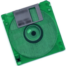 bright green floppy disk (http://www.bbc.co.uk/schools/gcsebitesize/ict/images/floppydisk.jpg)