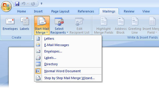 Microsoft Word, mail merge button has been clicked, options available include: letters, e-mail messages, envelopes, labels, directory, normal word document, step by step mail merge wizard (http://www.bbc.co.uk/schools/gcsebitesize/ict/images/mail_merge.jpg)