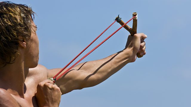 A man pulling back a catapult. (http://ichef.bbci.co.uk/images/ic/640xn/p023hqcd.jpg)