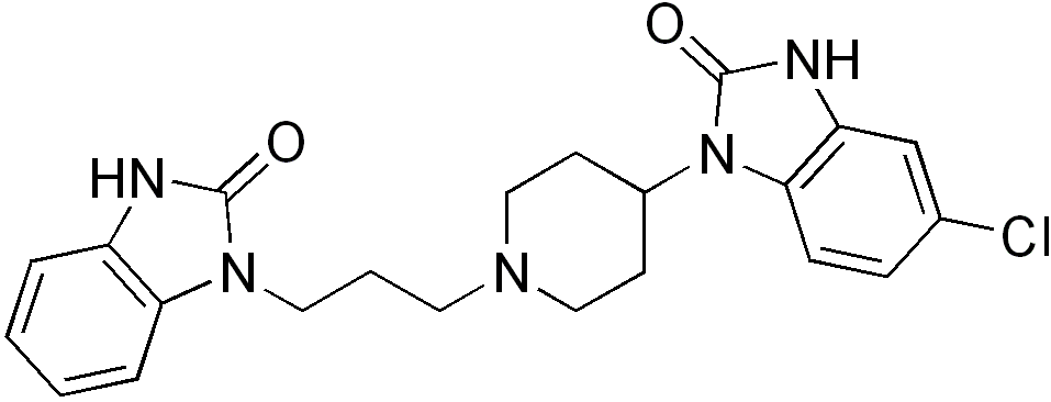 Image result for domperidone (http://upload.wikimedia.org/wikipedia/commons/2/20/Domperidone_structure.png)