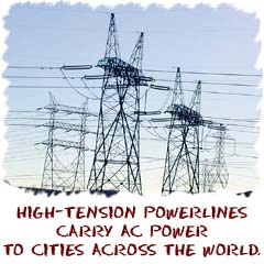 High-tension powerlines carry power to cities all over the world. (http://www.physics4kids.com/files/art/elec_acpower3_240.jpg)