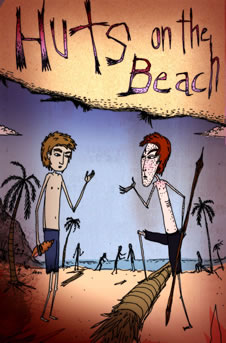 Huts on the Beach: Ralph and Jack argue. (http://www.bbc.co.uk/schools/gcsebitesize/english_literature/images/lotf_small_03.jpg)