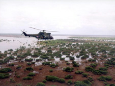 Helicopter carrying British aid across flood water, Mozambique (http://www.bbc.co.uk/schools/gcsebitesize/geography/images/riv_016.jpg)