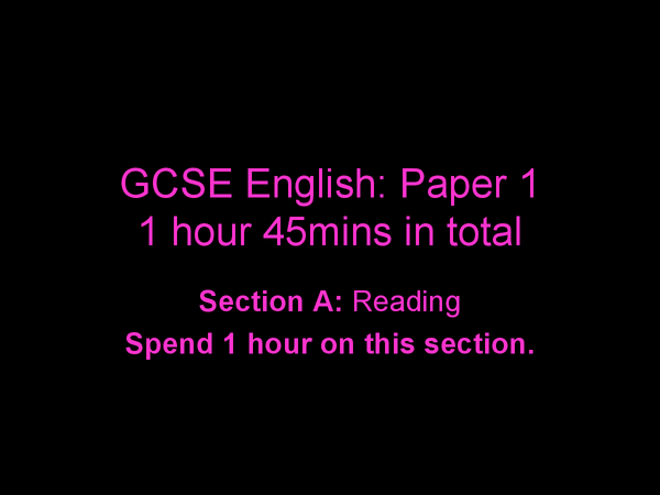 Preview of 1 GCSE English AQA Spec a Paper 1 - Year 11