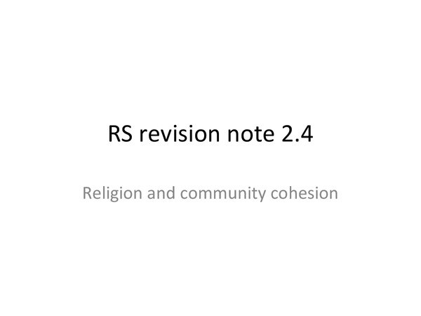 Preview of 2.4 Religion and Community Cohesion, Edexcell revision notes