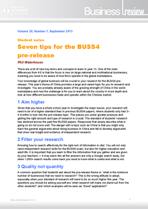 Preview of 7 tips for BUSS4 pre-release - AQA BUSS4 Research topic 2014 - China - business review