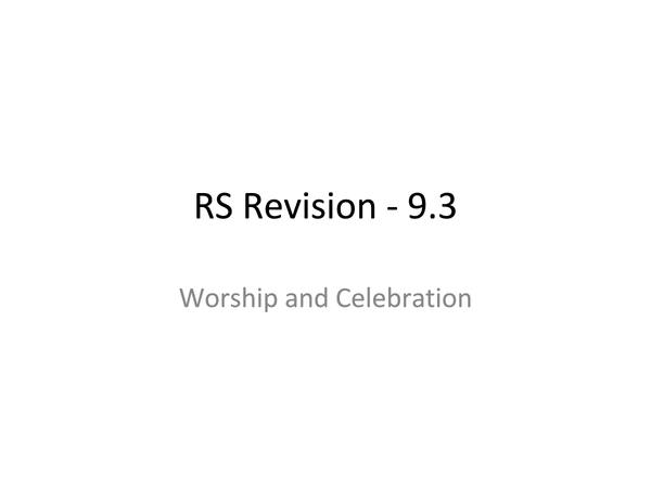 Preview of 9.3 Worship and Celebration Edexcell revision notes