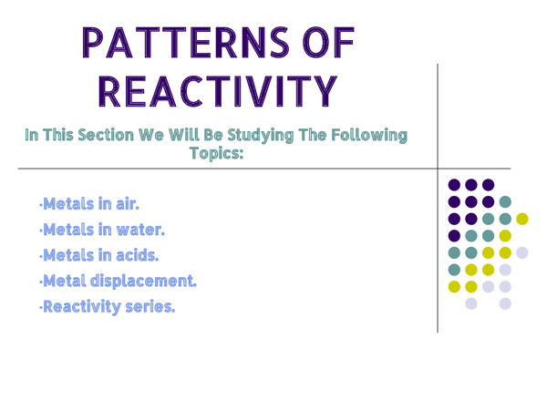Preview of 9 F Patterns of Reactivity