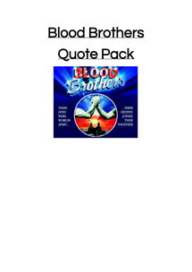 Preview of Quote pack for Blood Brothers