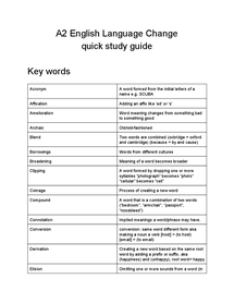Preview of A2 English Language Change quick study guide