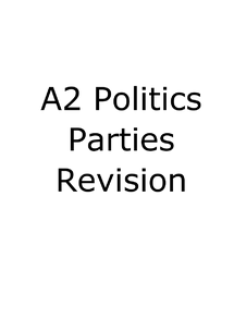 Preview of A2 Politics GOV3A Political Parties Revision Guide (AQA)