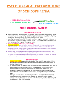 psychological explanations for schizophrenia This is a sample of our (approximately) 10 page long psychological or non biological explanations of schizophrenia notes, which we sell as part of the psychology notes collection, a b package written at york college in 2015 that contains (approximately) 157 pages of notes across 48 different documents.