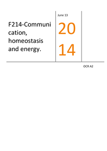 Preview of A2 F214 complete revision notes (communication, homeostasis and energy)
