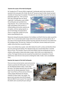 Preview of A2 Geography: Haiti Earthquake Report