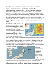 Preview of A2 Geography: Japanese Earthquake/Tsunami Report