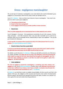 Preview of A2 LAW - GROSS NEGLIGENCE NOTES
