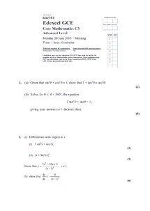 Preview of A2 Mathematics C3 PAST PAPERS FROM JUNE 2005- JAN 2012