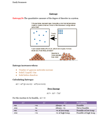 Preview of A2 OCR Chemistry: Entropy and Free Energy