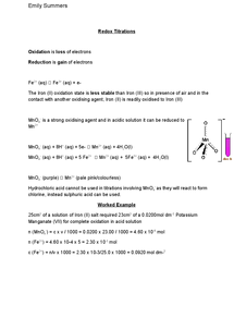 Preview of A2 OCR Chemistry: Redox Titrations