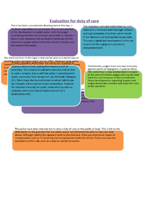 Preview of A2 OCR LAW TORT Duty of Care Evaluation
