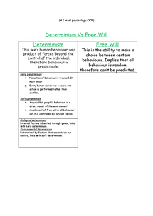 Preview of A2 psychology OCR - Determinism Vs Free Will