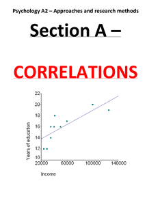 Preview of A2 psychology revision SECTION A CORRELATIONS - G544 (approaches and research methods)
