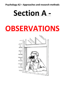 Preview of A2 psychology revision SECTION A OBSERVATIONS - G544 (approaches and research methods)