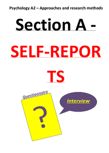 Preview of A2 psychology revision SECTION A SELF-REPORTS - G544 (approaches and research methods)