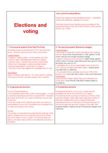Preview of A2 Unit 4C politics revision cards