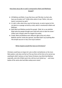 Preview of A Comparison of the Synoptic Gospels.
