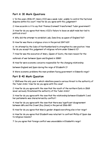 Preview of A few sample part A and B questions for A2 History, Tudor, protest crisis an rebellion. .