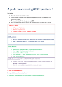 Preview of A guide to answering GSCE questions
