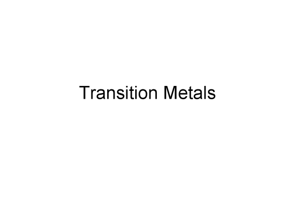 Preview of A Level Chemistry: Transition Metals