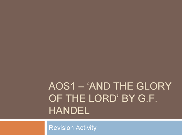 """Preview of A small revision quiz on Handel - """"And the Glory of the Lord"""""""