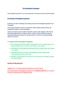 Preview of AS OCR Philosophy: The Ontological Argument