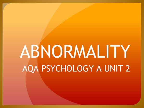 Preview of Abnormality