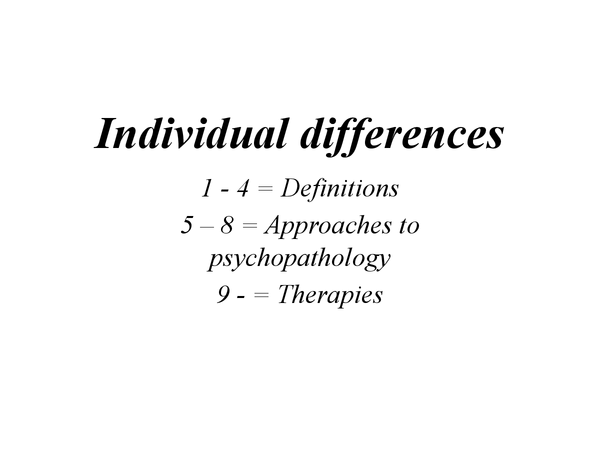Preview of Abnormality (Individual differences)