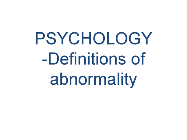 Preview of Abnormality - Psychology AS