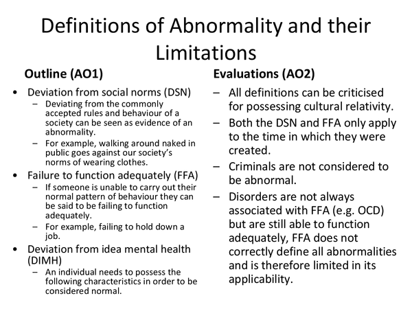 Preview of Abnormality, psychology Unit 2 AQA A