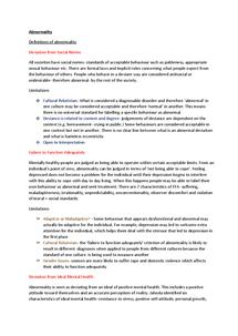 Preview of Abnormality (Psychopathology) PSYA2