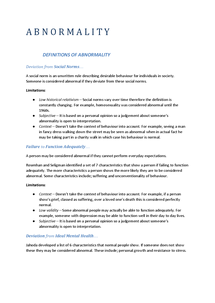 Preview of Abnormality Summary