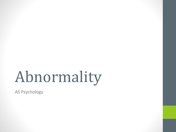 Preview of Abnormality *Whole Topic*
