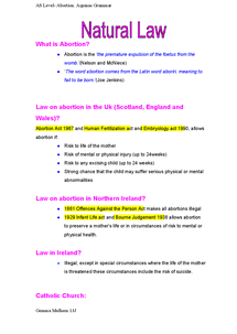 Preview of Abortion revision notes